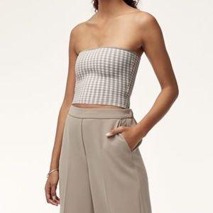 Aritzia Essamba knit top in ashen grey + white
